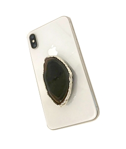 Black Slice Gemstone Cell Phone Socket