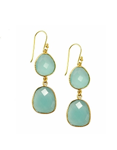 Double Aqua Chalcedony Drop Gold Earrings