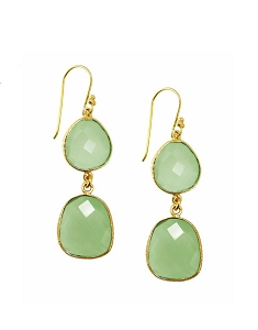 Double Green Chalcedony Drop Gold Earrings