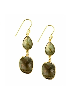 Double Labradorite Drop Gold Earrings