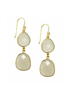 Double Moon Stone Drop Gold Earrings