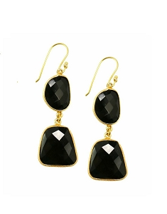 Double Onyx Drop Gold Earrings