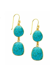 Double Turquoise Drop Gold Earrings