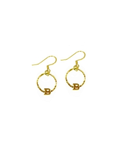 Circle Ring Initial Charm Earrings