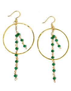 Hoop with Mini Gemstone Bead Tassel Earrings