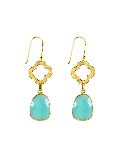 Clover and Aqua Chalcedony Drop Gold Earrings