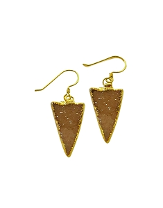 Druzy Triangle Champagne Gold Earrings