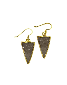 Druzy Triangle Grey Gold Earrings