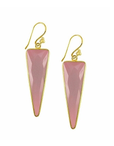 Elongated Triangle Dangle Gemstone Earrings