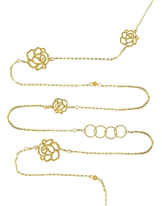 Multiple Circles-Roses Long Necklace