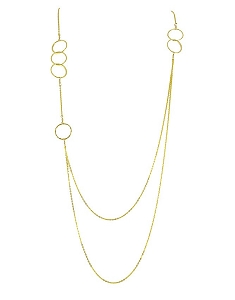 Multiple Circles Long Necklace Double Chain