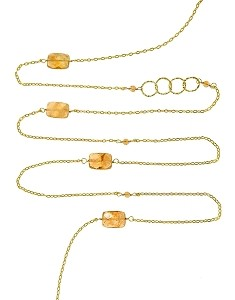 Faceted Citrine and Circles with Gemstone Beads Long Necklace