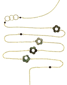 Grey Pearl Sunflowers and Circles with Gemstone Beads Long Necklace