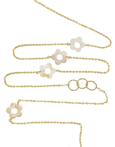 White Pearl Sunflowers and Circles with Gemstone Beads Long Necklace