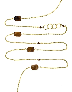 Faceted Tiger Eyes and Circles with Gemstone Beads Long Necklace