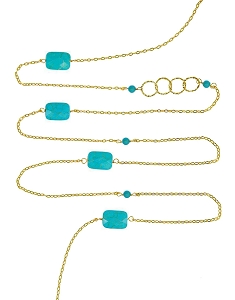 Faceted Turquoise and Circles with Gemstone Beads Long Necklace
