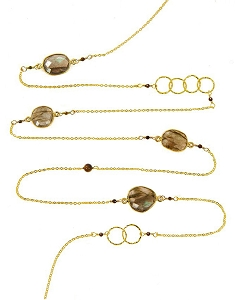 Labradorite with Circles and Gemstone Beads Long Necklace