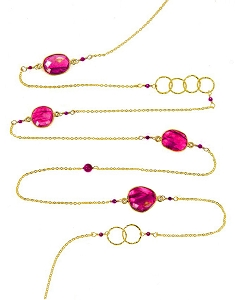 Pink Chalcedony with Circles and Gemstone Beads Long Necklace
