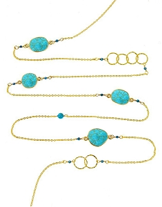 Turquoise with Circles and Gemstone Beads Long Necklace