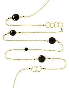 Onyx with Circles and Gemstone Beads Long Necklace