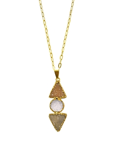 3-Druzy Gemstones Pendant Necklace
