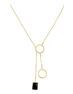 Two-Circle Lariat Necklace with Gemstone Pendant