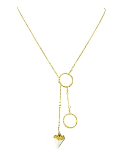 Two-Circle Lariat Necklace with SharktoothPendant