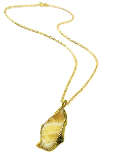 Golden Agate Gold Pendant