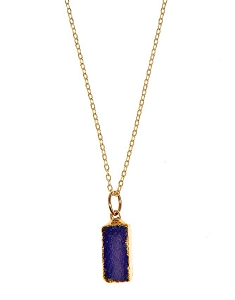 Rectangle Blue Druzy Pendant Necklace