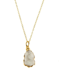 Irregular Shaped White Druzy Pendant Necklace
