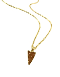 Druzy Champagne Triangle Pendant Necklace