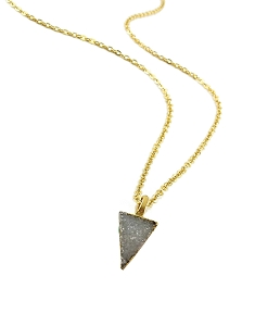 Druzy Grey Triangle Pendant Necklace
