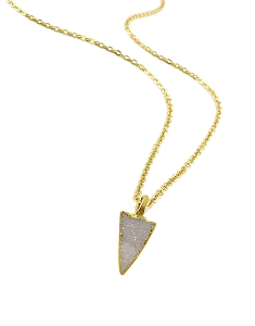 Druzy White Triangle Pendant Necklace