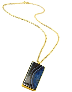 Rectangle Black-Blue Agate Gold Pendant