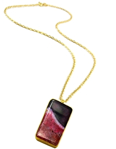 Rectangle Black-Red Agate Gold Pendant