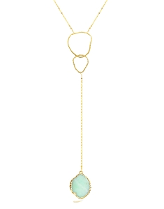 Irregular Circle Y Necklace with Chrysoprase Pendant