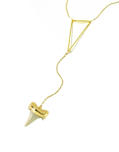 Triangle Y Necklace with Shark Tooth Pendant