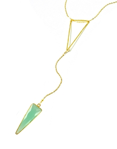Triangle Y Necklace with Triangle Aqua Pendant