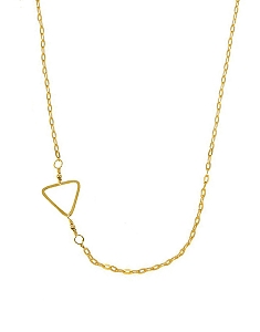 Sideway Triangle Pendant Short Necklace