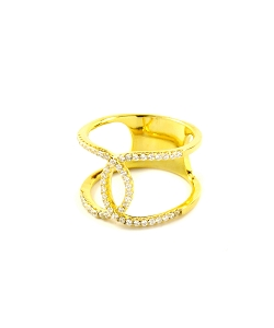 Channel Micro Pave CZ Gold Ring