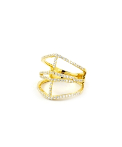 Double Bars Micro Pave CZ Gold Ring