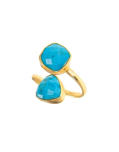 Double Gemstone Turquoise Statement Ring