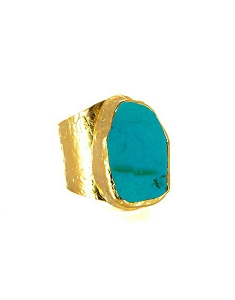 Blue Turquoise Cigar Gold Ring