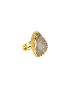 Druzy Grey Gold Ring