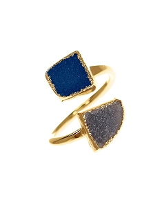 Double Gemstone Druzy Blue & Grey Statement Ring