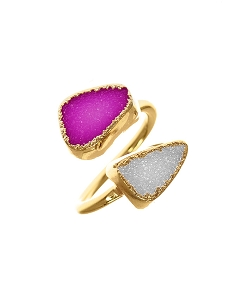 Double Gemstone Druzy Pink & White Statement Ring
