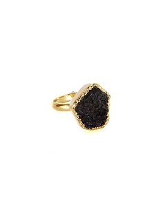 Druzy Black Onyx Gold Ring