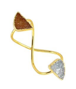Infinity Double Gemstone White and Champagne Druzy Ring