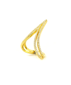 Double Vs Micro Pave CZ Gold Ring