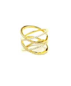 Double Xs Micro Pave CZ Gold Ring (COPY)